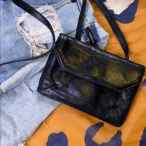 HOBO Leather Black Mini Crossbody Wallet Purse